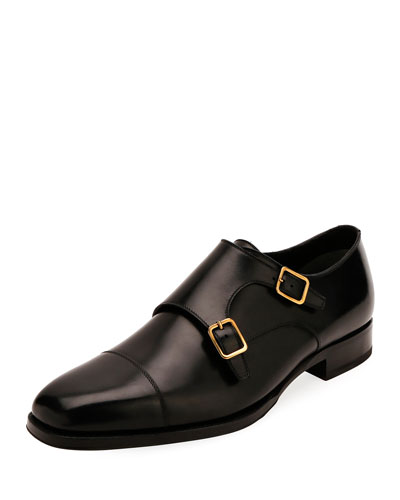 Men's Double-Monk Strap Leather Loafers
