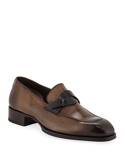 Men's Two-Tone Leather Twist-Top Loafers