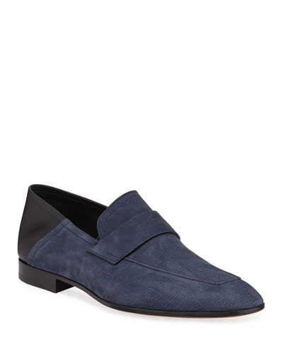 Men's Grained Nubuck Loafers