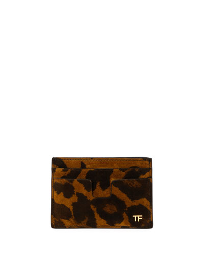 Men's Leopard-Print Leather Card Holder