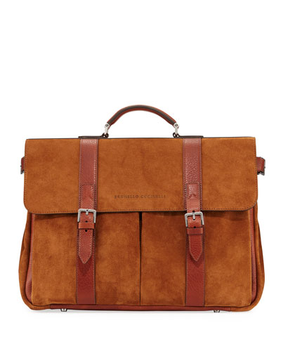 Men's Leather Flap-Top Briefcase