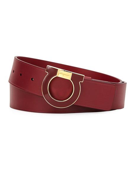 Men's Oversized Single Gancio Enamel Belt, Red