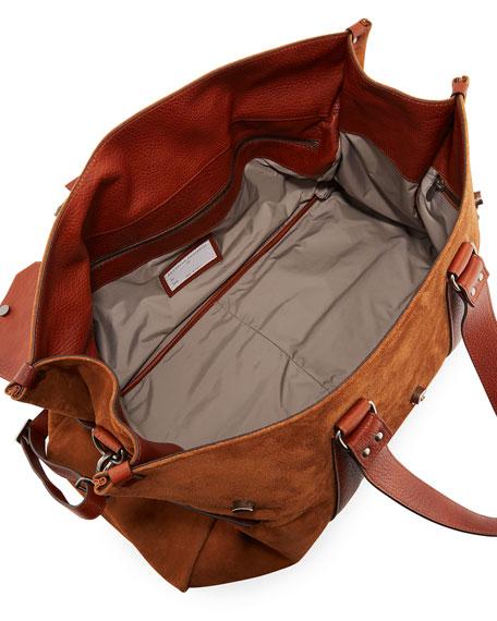 Men's Leather Flap-Top Duffel Bag
