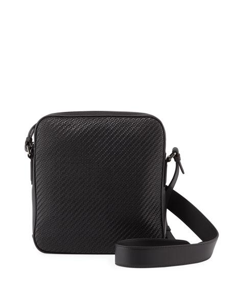 Ermenegildo Zegna Men's Pelle Tessuto Reporter Crossbody Bag