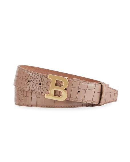 Bally Men's B Buckle Snake-Embossed Belt