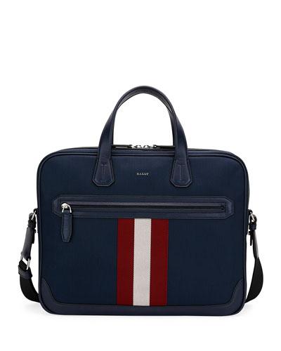 Chandos Leather-Trim Briefcase, Dark Blue