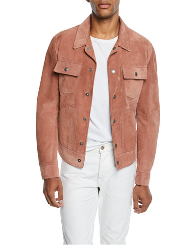 Men's Calf Suede Trucker Jacket