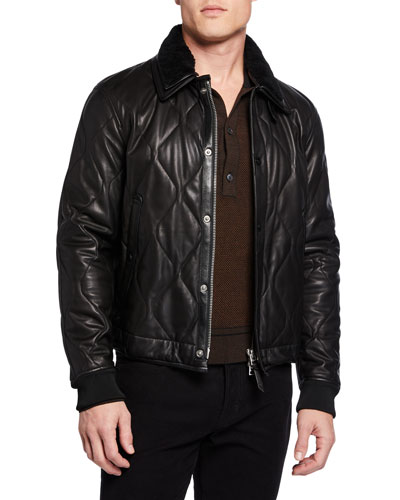Men's Quilted Leather Jacket w/ Shearling Collar