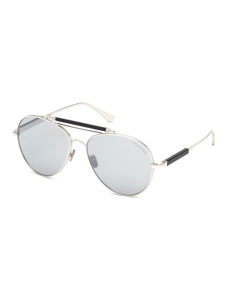 f484b5740a25 TOM FORD Men s Metal Aviator Sunglasses with Mirrored Photochromic Lenses