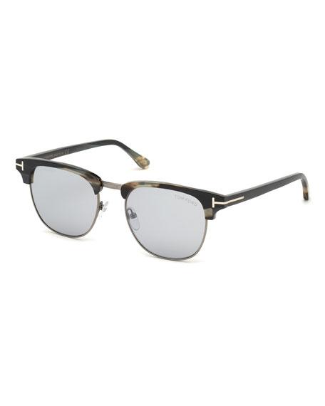 Tom Ford Sunglasses MEN'S TOM N.17 HALF-RIM HORN SUNGLASSES WITH PHOTOCHROMIC MIRROR LENSES