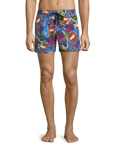 Men's Moorise Queen Poster-Print Swim Trunks