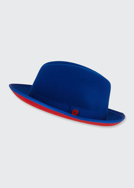 Men's King Red-Brim Wool Fedora Hat, True Blue