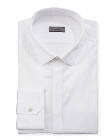 Lanvin Men's Tonal Stripe Hidden-Placket Dress Shirt
