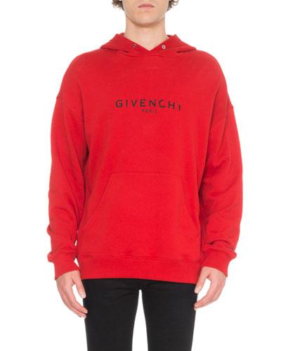 Men's Distressed Logo-Print Hoodie Sweatshirt
