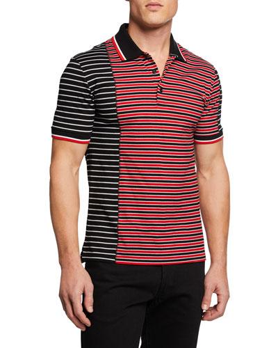 Men's Asymmetrical-Stripes Slim-Fit Polo Shirt