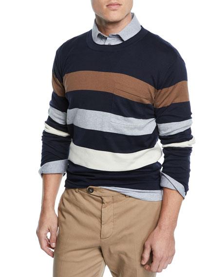 Brunello Cucinelli Men's Tricolor Stripe Cotton Sweater