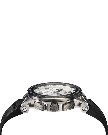 Versace Sport Tech Chronograph Leather Strap Watch, 45Mm In Black/ Silver