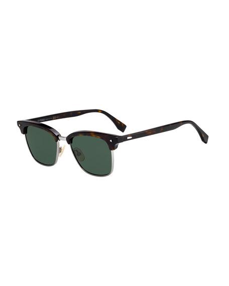 Men's Half-Rim Square Acetate Sunglasses