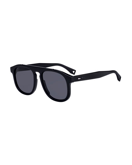 Men's Round Propionate Keyhole Sunglasses