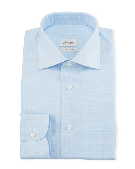 Brioni Men's Prince of Wales Dress Shirt