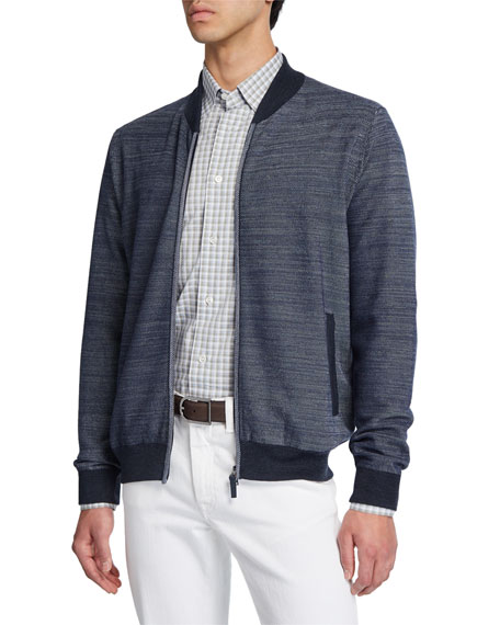 Brioni Men's Diagonal Weave Zip-Front Cardigan with Elbow
