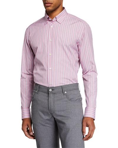 Men's Multi-Stripe Long-Sleeve Dress Shirt