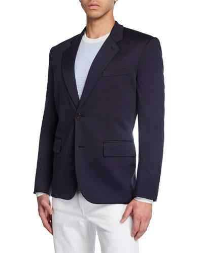 Men's Solid Silk-Cotton Knit Two-Button Blazer