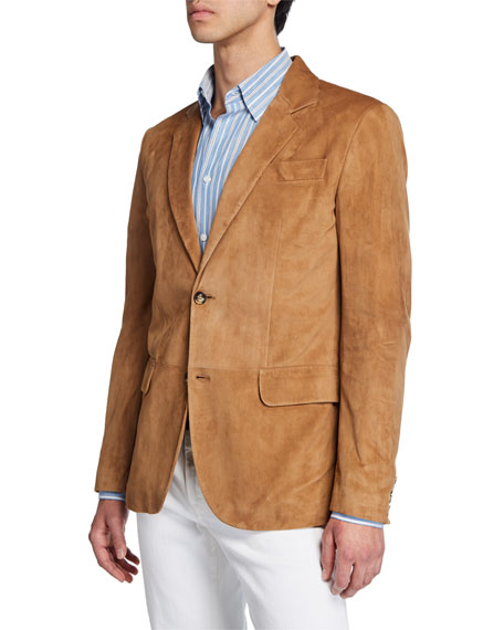 Men's Suede Two-Button Blazer
