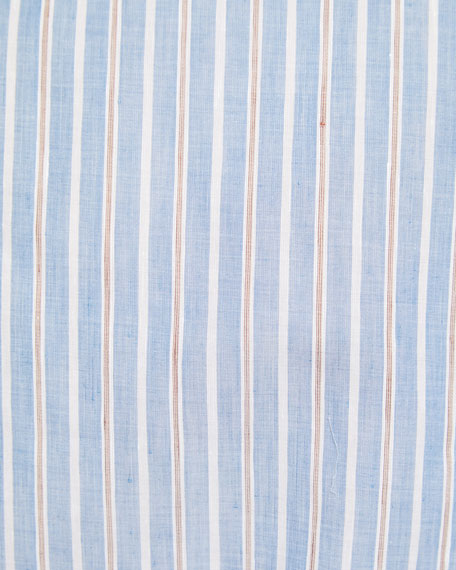 Men's Multi-Stripe Cotton/Linen Dress Shirt