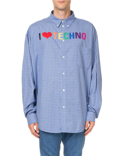 Men's I Love Techno Rainbow-Embroidered Check Sport Shirt