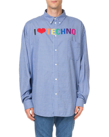 Men's I Love Techno Rainbow-Embroidered Check Sport Shirt