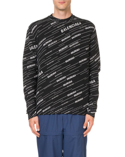 Men's Contrast Logo-Striped Jacquard Sweater