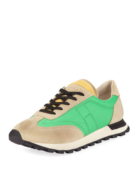 Maison Margiela Men's Low-Top Running Sneakers w/ Dirty