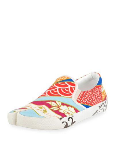 Men's Tabi Split-Toe Canvas Slip-On Sneakers
