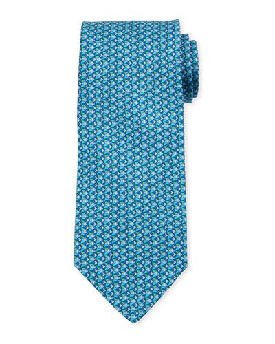 Fish-Print Silk Tie  Blue