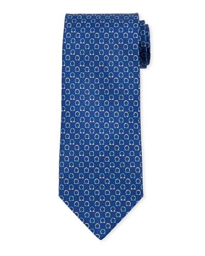 Gancio Silk Tie  Blue
