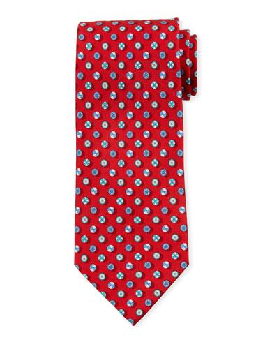 Umbrella-Print Silk Tie  Red