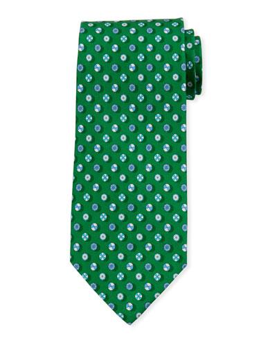 Umbrella-Print Silk Tie  Green