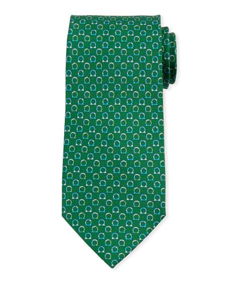 Salvatore Ferragamo Gancio Silk Tie, Green