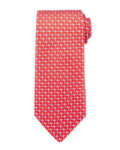 Palm Tree Silk Tie  Red