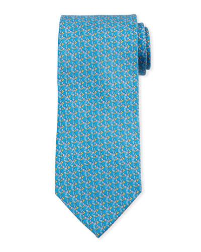 Bird-Print Silk Tie  Blue