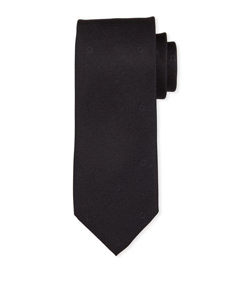 Salvatore Ferragamo Eston Solid Silk Tie, Black