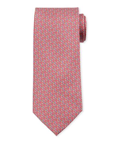 Bird-Print Silk Tie  Red