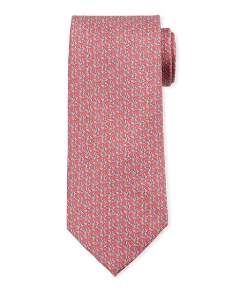 Salvatore Ferragamo Bird-Print Silk Tie, Red
