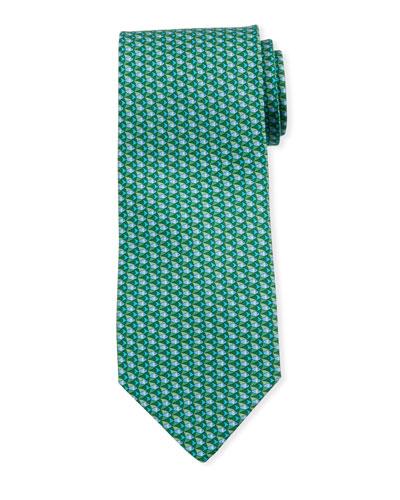 Fish-Print Silk Tie  Green