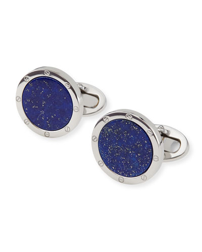 Round Lapis Cuff Links  Blue