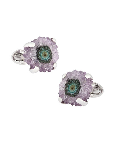 Silver Stalactite Cuff Links, Purple