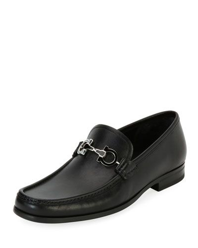 Men's Leather Loafer with Reversible Gancini Ornament