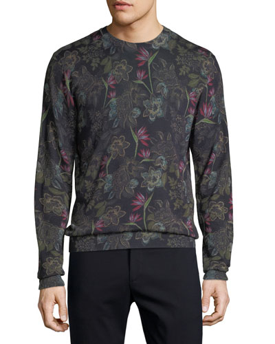 Men's Floral Wool-Blend Sweater