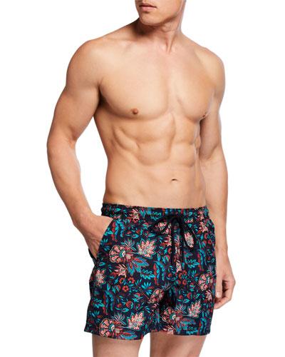 Men's Floral-Print Swim Trunks